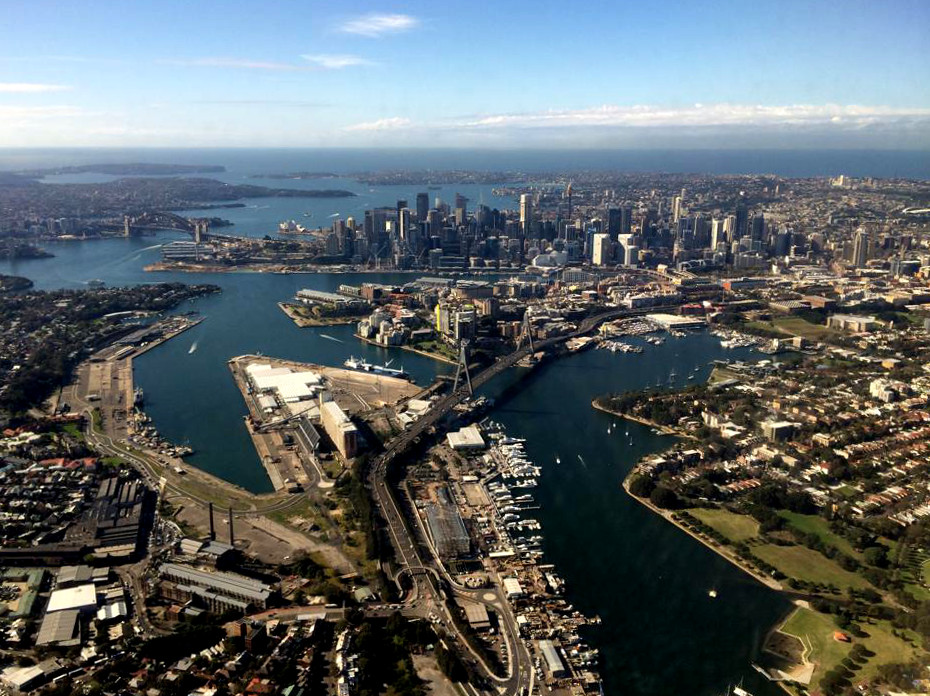 sky view of Blackwattle, Rozelle and White Bays